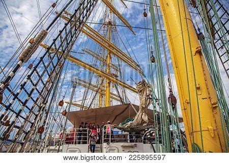 Sochi, Russia - April 29, 2015: Mast Ship Kruzenshtern.
