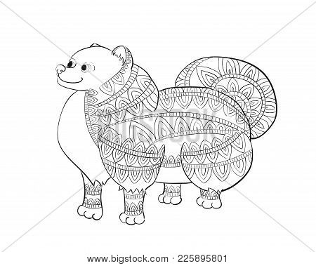 Zen Tangle Fluffy Pomeranian. Zentangle Spitz Vector Illustration. Coloring Book For Adults With The