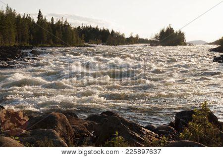The Biggest Magic Waterfall Storforsen In Europein Evening