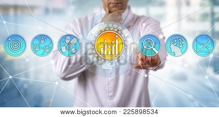 Pensive, yet unrecognizable male scientist is identifying key usage patterns. Concept for predictive analytics, machine learning, artificial intelligence, IoT, pharmaceutical treatment targeting. poster
