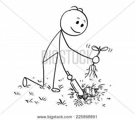 Cartoon Stick Man Drawing Illustration Of Gardener On Garden Digging A Hole For Plant With Small Sho