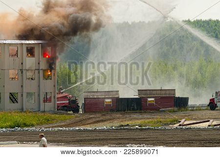 Nizhniy Tagil, Russia - July 12, 2008: Special Firefighting Vehicle Spm. Display Of Opportunities Of