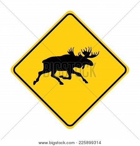 Moose Silhouette Animal Traffic Sign Yellow  Vector Illustration