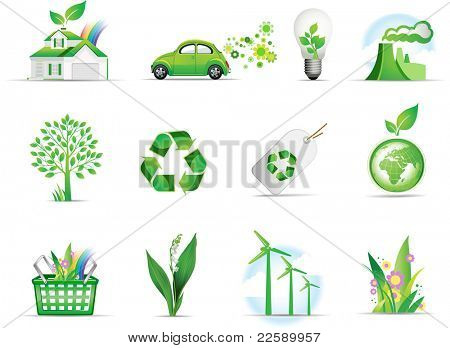 Set of green environmental icons. Raster version of vector illustration.