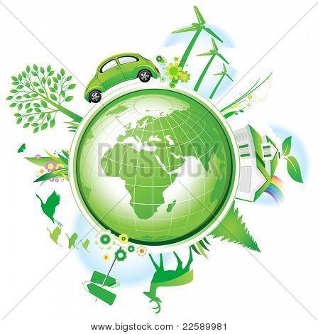 Global Conservation Concept. Raster version of vector illustration.