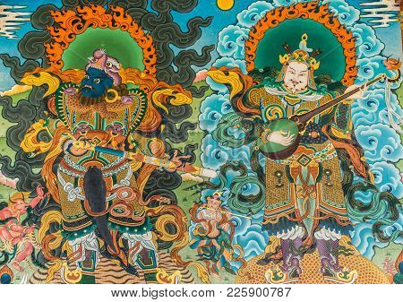 Coorg, India - October 29, 2013: Vivid Color Of Painting Of Warrior And Musicians Outside Padmasambh