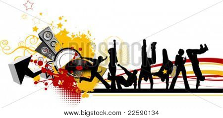 Everyone dancing and having fun. Dancing people. All elements and textures are individual objects. Vector images scale to any size.