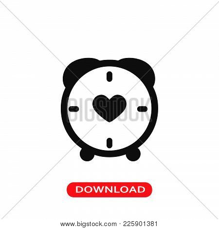 Clock With Heart Icon Vector In Modern Flat Style For Web, Graphic And Mobile Design. Clock With Hea