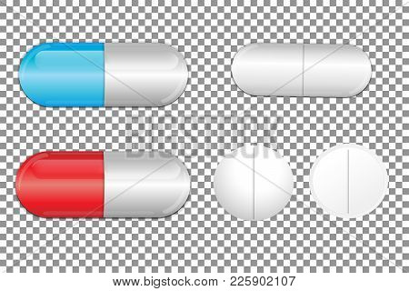 Set Of Color Pills. Medicine Painkiller Pills. Vector Illustration.