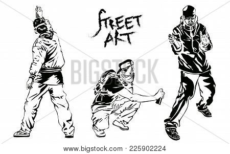 Set Of Graffiti Artists. Collection Street Art Elements. Vector Illustration