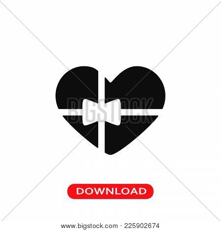 Heart Shaped Gift Icon Vector In Modern Flat Style For Web, Graphic And Mobile Design. Heart Shaped