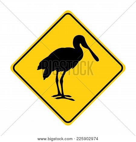 Roseate Spoonbill Silhouette Animal Traffic Sign Yellow  Vector Illustration