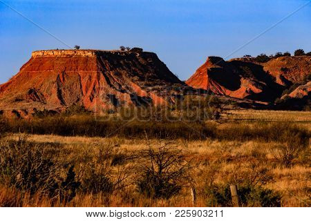 View Of The Buttes At Gloss Mountains State Park In Oklahoma.