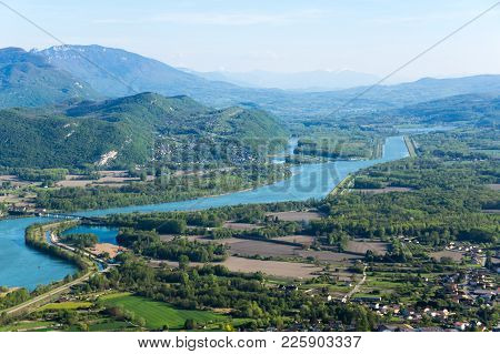 Panoramic View Of Rural France In Haute-savoie Region
