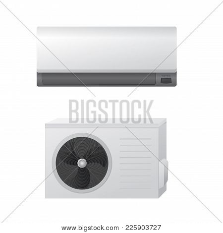 The Air Conditioning Split System Vector Illustration. Outdoor And Indoor Unit. The Concept Of A Com