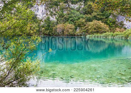 Plitvice Lake Natural Water Green Landscape, Croatia