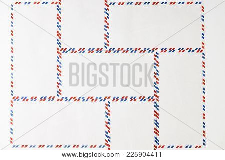 Postal Blank Envelopes With Striped Frame. Striped Post Envelopes. Simple Blank White Envelope Isola