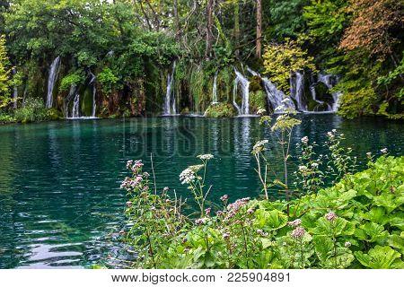 Waterfalls In Croatia, Lake Natural Travel Background, National Park Plitvice