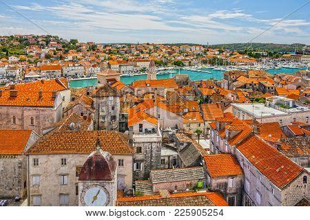 Trogir, Croatia, Town Panoramic View, Croatian Tourist Destination.