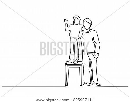 Continuous Line Art Drawing. Happy Young Father With Little Son Standing On A Stool. Vector Illustra