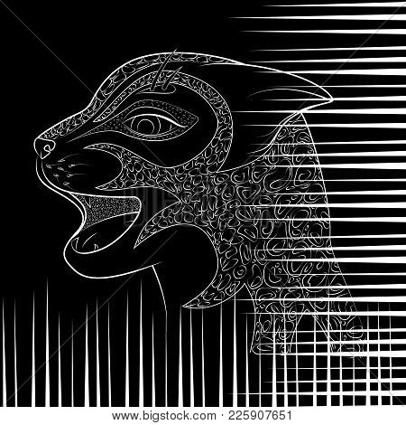 The Head Of A Wild Cat Vector Illustration. Zen Tangle With Damaged From Danger Animal Talon.