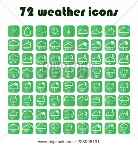 Set Of Website Meteorology Signs. 49 Weather Icons Set. Vector Green Symbols.