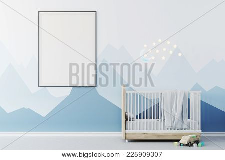 Nursery Interior With Blue Walls, A Concrete Floor, A Cradle With The Moon And Stars Above It And A