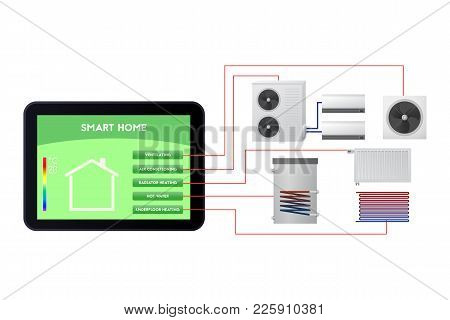 Smart Home Automated. Climate Monitoring Vector Illustration. Ventilation, Air Conditioning, Radiato