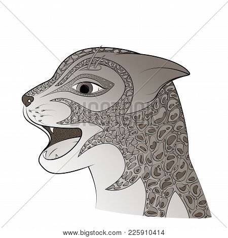 The Head Of A Wild Cat Vector Illustration. Zen Tangle Feline Face. Grey Coat Color.