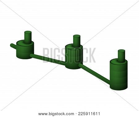 Underground Septic Tank Vector Illustration. Collector Sewer Drain On A White Background.