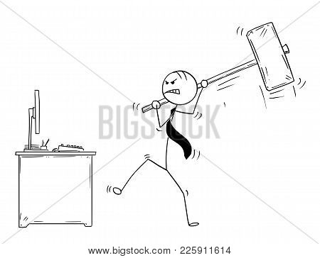 Cartoon Stick Man Drawing Conceptual Illustration Of Angry Businessman Ready To Destroy His Office C