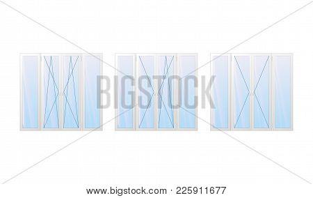 Opening Types Window. Tilt And Turn. Modern White Frame. Vector Illustration.