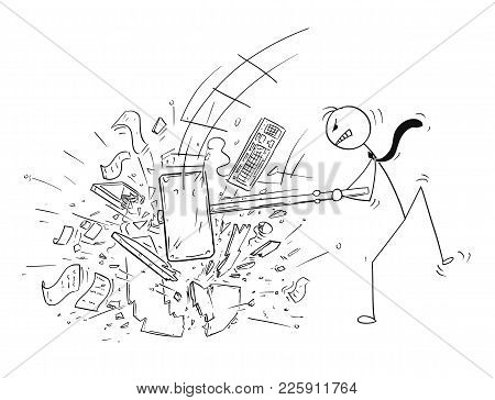 Cartoon Stick Man Drawing Conceptual Illustration Of Angry Businessman Destroying His Office Compute
