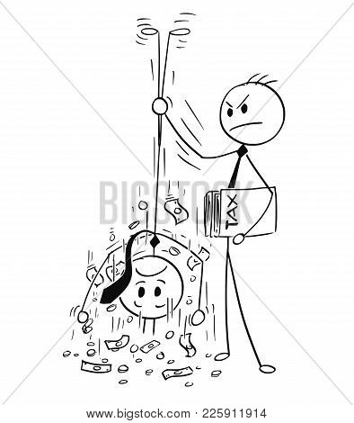 Cartoon Stick Man Drawing Conceptual Illustration Of Taxation Clerk Shaking Out Money For Tax From B