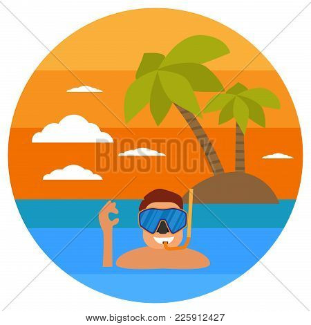 Diving In Tropical Sea Off Paradise Island. Beach Vacation, Palm Tree, Diving Mask, Snorkel. Tropica
