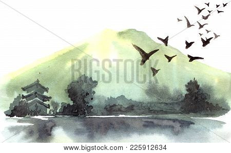 Chinese Landscape With Mountain, Birds, River, Trees, Pagoda. Watercolor And Ink Illustration Of Nat