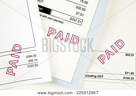 Three Invoices With Paid Stamp - Three Invoices, All Have Been Stamped Paid.