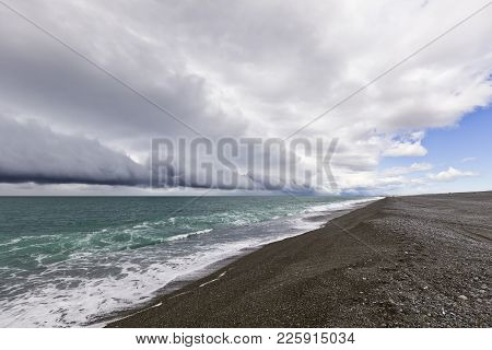 The Shingle Beach At Birdlings Flat, On Banks Peninsula, Canterbury, New Zealand, With A Southerly F
