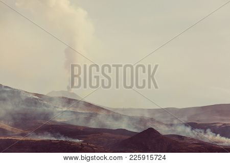 Active Volcanic mountain landscapes in the Andes, near the Colca Canyon, Arequipa, Peru
