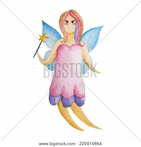 Girly Fairy Flying With Wings And Long Hair In Watercolor Silhouette