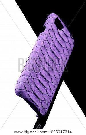 Exclusive Ultraviolet Snake Leather Case For Smartphone.luxury Case. On Black And White Background