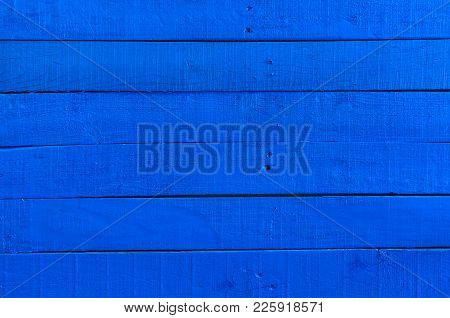 Painted Old Wooden Surface, Blue Saturated Color, Wood Texture, Wooden Background
