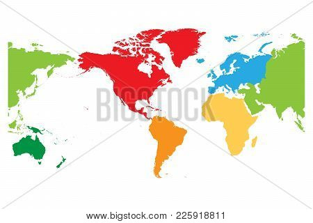 World Map Divided Into Six Continents. Americas Centered. Each Continent In Different Color. Simple