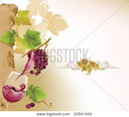 Design for wine list.  Raster version of vector illustration.