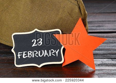 Chalkboard With Text: February 23. Defender Of The Fatherland Day