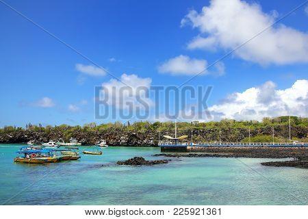 Puerto Ayora Harbor On Santa Cruz Island, Galapagos National Park, Ecuador. Puerto Ayora Is The Most