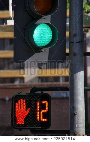 Green Traffic Light In The Street Of Reno, Nevada, Usa