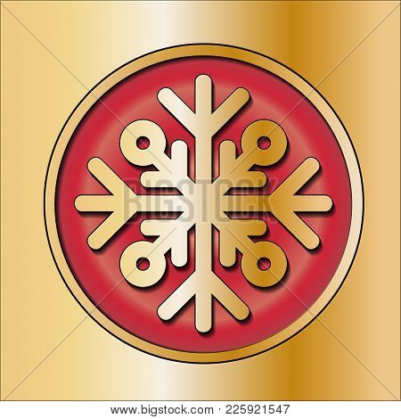 Shiny Silver Round Button. With Snowflake. Vector. Winter Decoration. New Year, Christmas. Gold Red