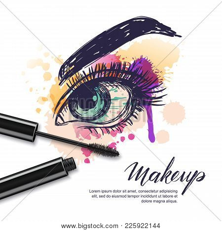 Vector Watercolor Sketch Illustration Of Colorful Female Eye And Makeup Mascara. Watercolor Backgrou