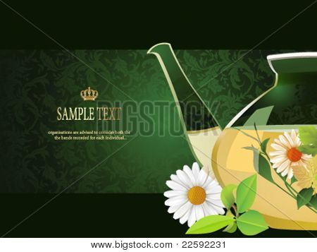 Glass teapot.  All elements and textures are individual objects. Vector illustration scale to any size.